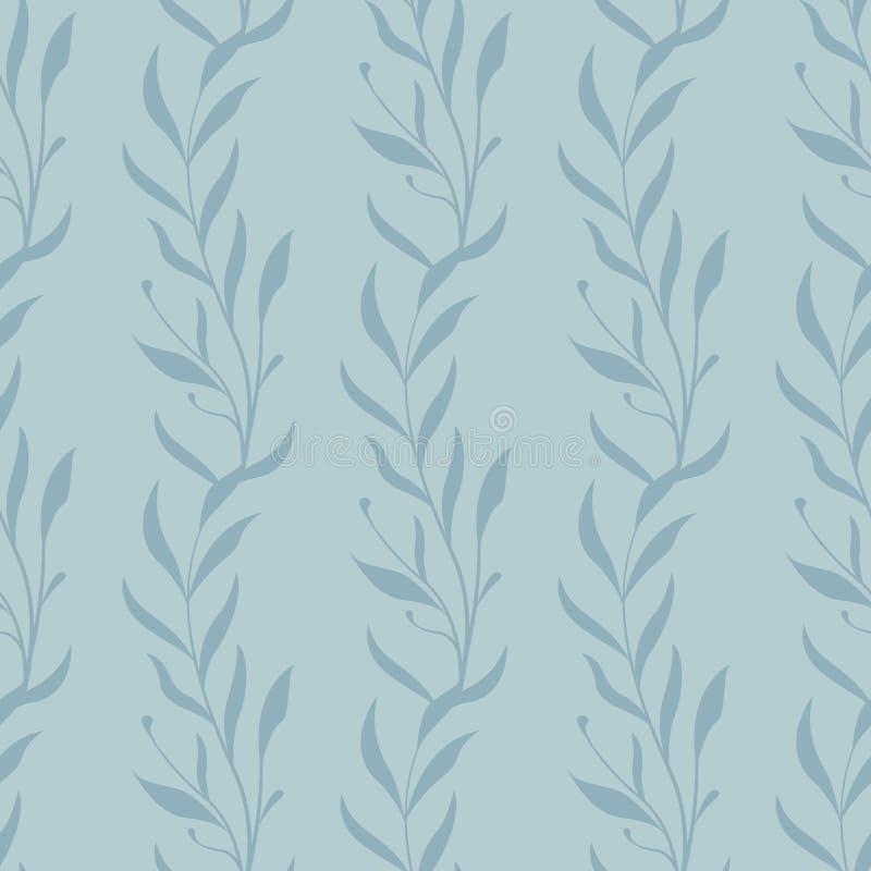 Цветочный узор вектора безшовный Вертикальные ветви с листьями бесплатная иллюстрация