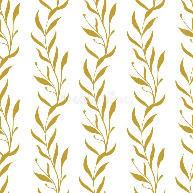 Цветочный узор вектора безшовный Вертикальные ветви с листьями иллюстрация вектора