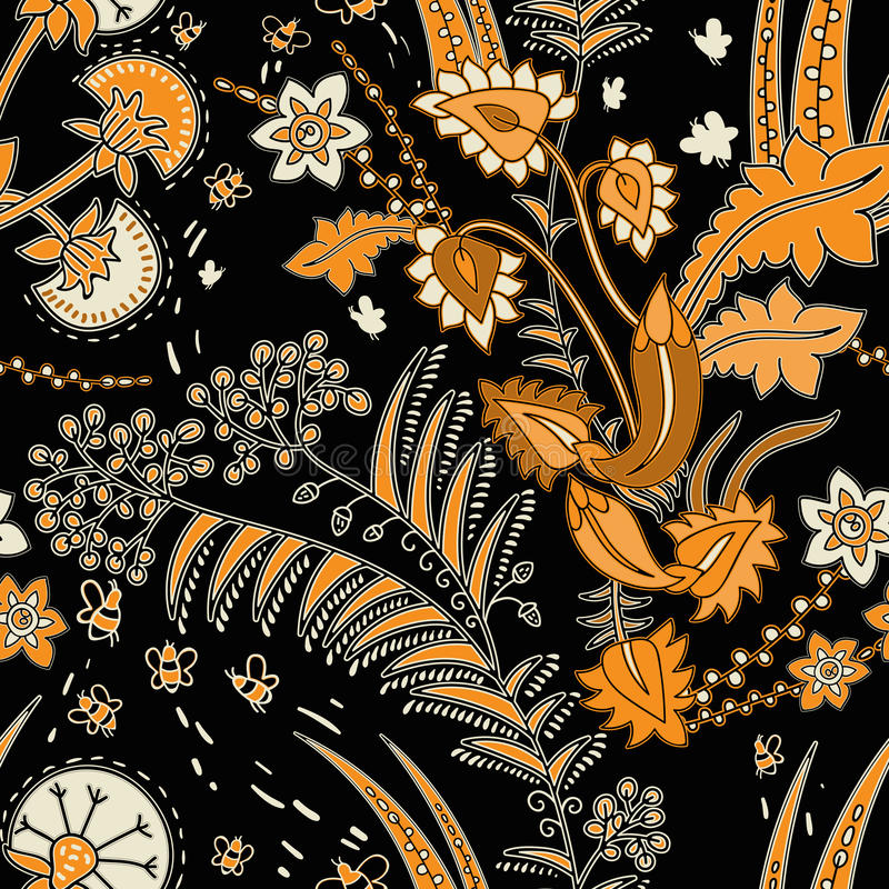 Цветочный узор вектора безшовный с декоративными заводами Черные цветки предпосылки и контраста желтые декоративно бесплатная иллюстрация