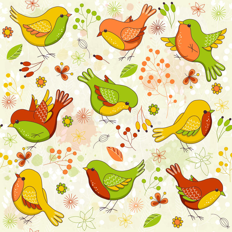 Цветочный узор вектора безшовный с птицами иллюстрация штока