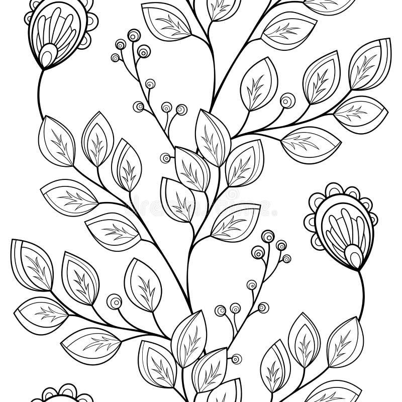 Цветочный узор вектора безшовный Monochrome иллюстрация штока