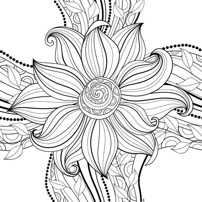 Цветочный узор вектора безшовный Monochrome бесплатная иллюстрация