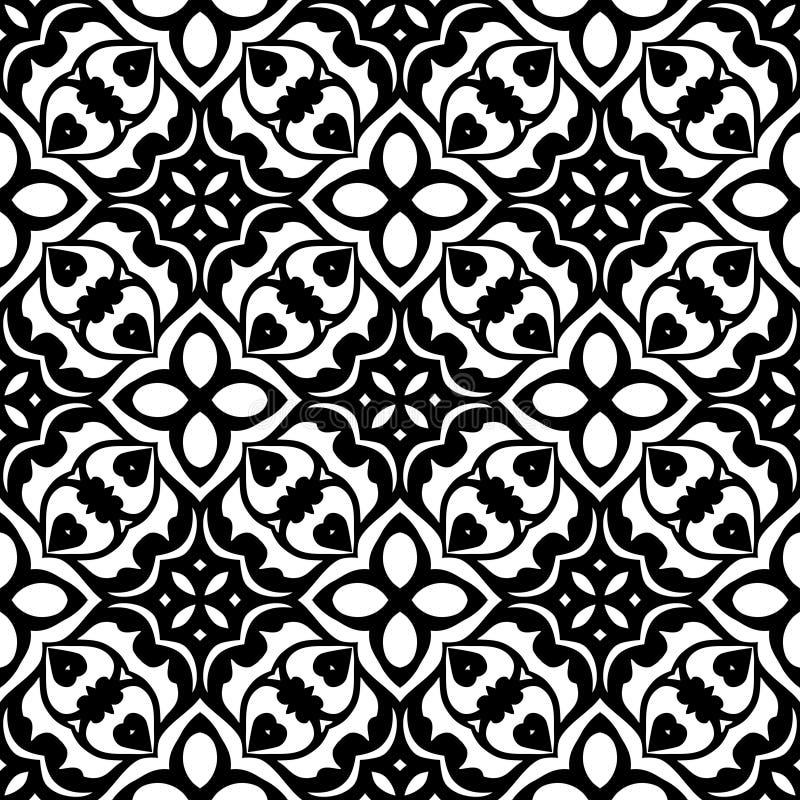 Цветочный узор вектора винтажный безшовный черно-белый иллюстрация вектора