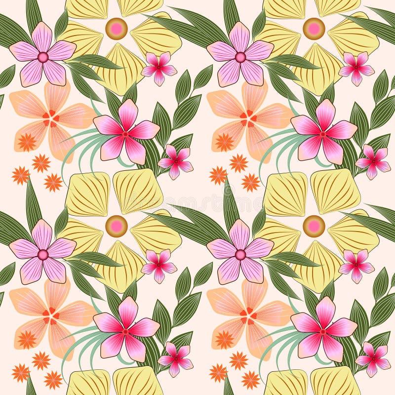 Цветочный узор весны растра безшовный в пастельных цветах на светлой предпосылке пинка и желтых цветков иллюстрация вектора