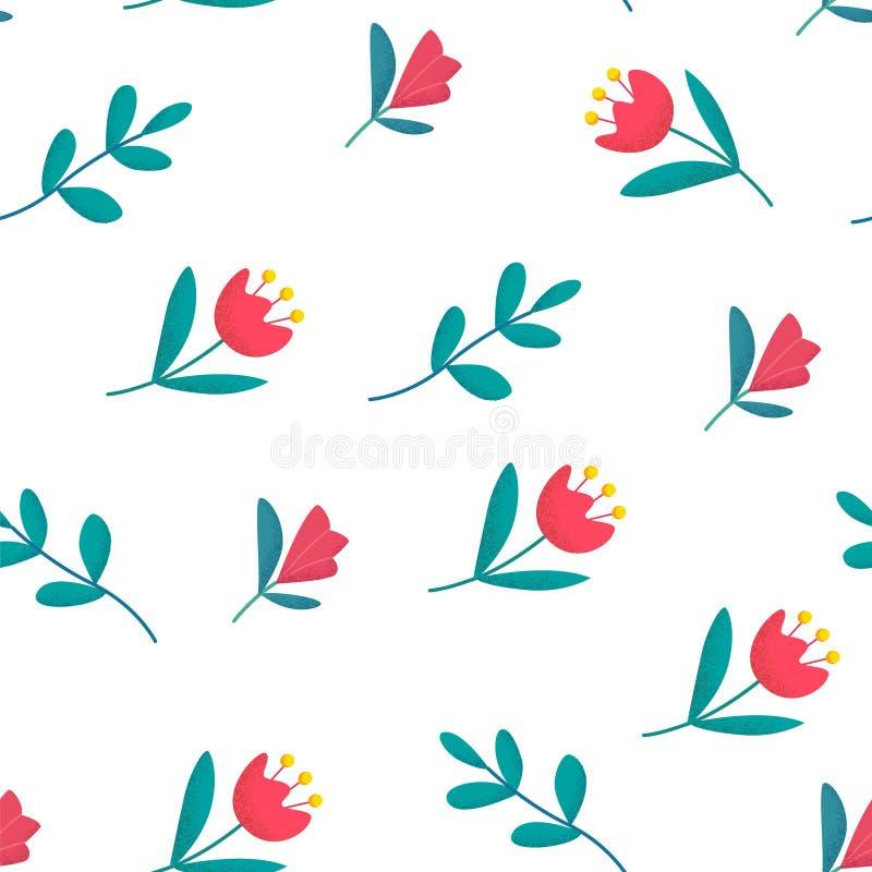 Цветочный узор весны с милыми цветками на белой предпосылке Орнамент для ткани и оборачивать вектор бесплатная иллюстрация