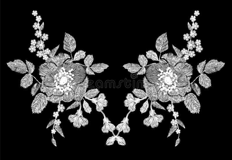 Цветочный узор вышивки белый с маком и маргариткой цветет Орнамент моды вектора традиционный фольклорный на черноте иллюстрация штока