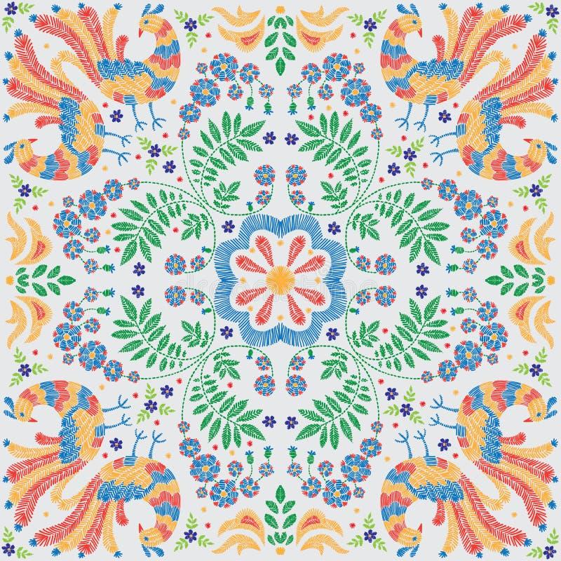 Цветочный узор вышивки, декоративный орнамент для ткани, подушка или оформление bandana Богемская handmade предпосылка стиля иллюстрация вектора