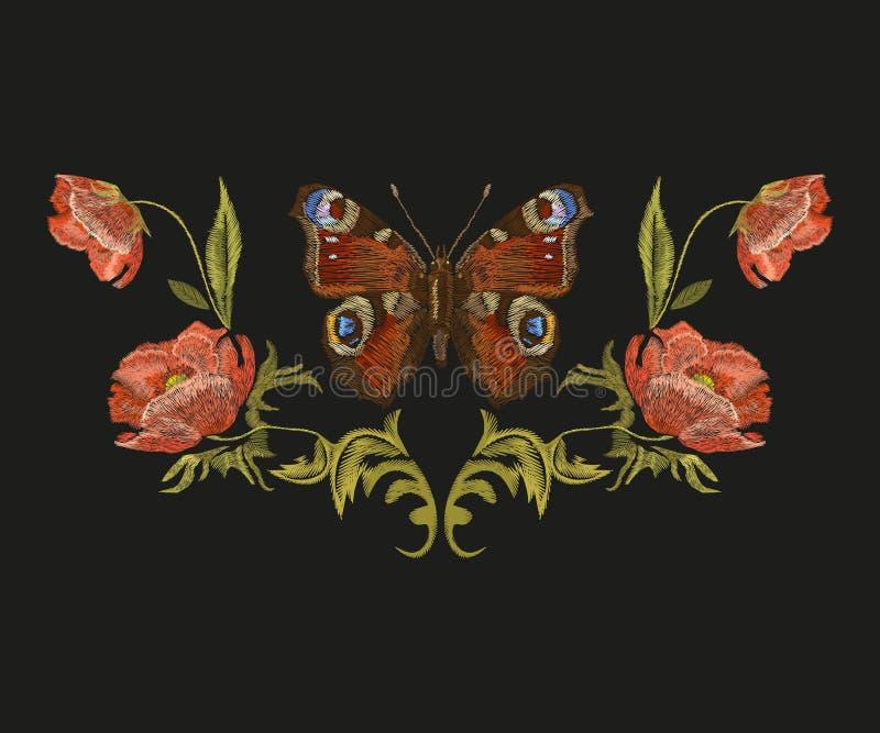 Цветочный узор вышивки красочный с бабочкой павлина иллюстрация вектора