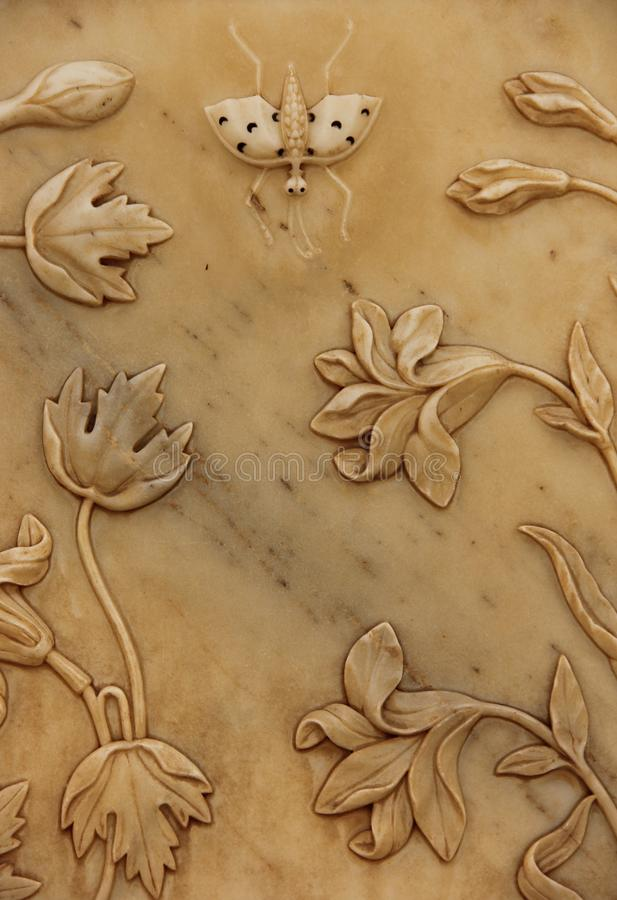 Цветочный узор в мраморе стоковое фото