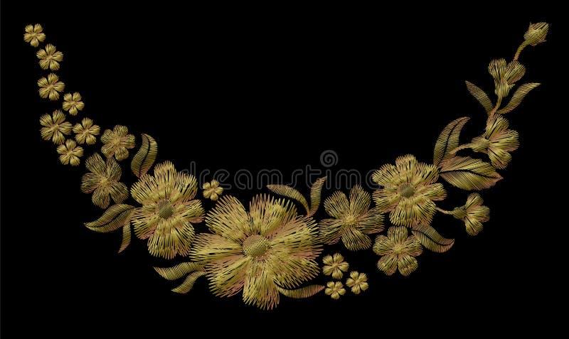 Цветочный узор золота вышивки с розами собаки и забывает меня не цветки иллюстрация штока