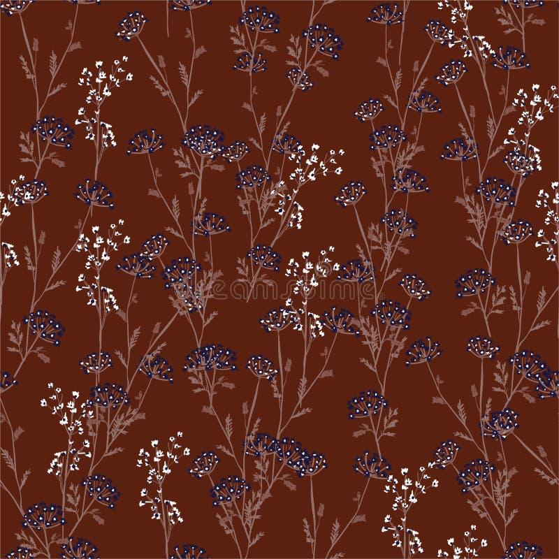 Цветочный узор луга винтажной руки вычерченный r Элегантный шаблон для моды и всех печатей иллюстрация вектора