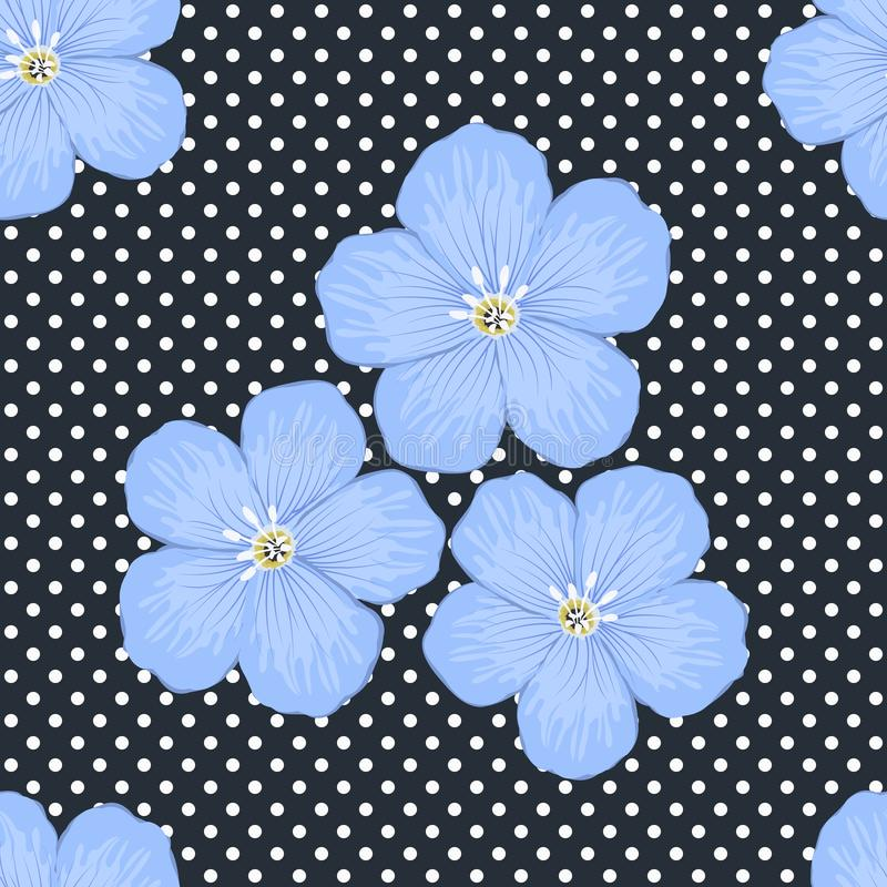 Цветочный узор на темно-синей предпосылке с точками польки Безшовный образец с большими голубыми цветками иллюстрация штока