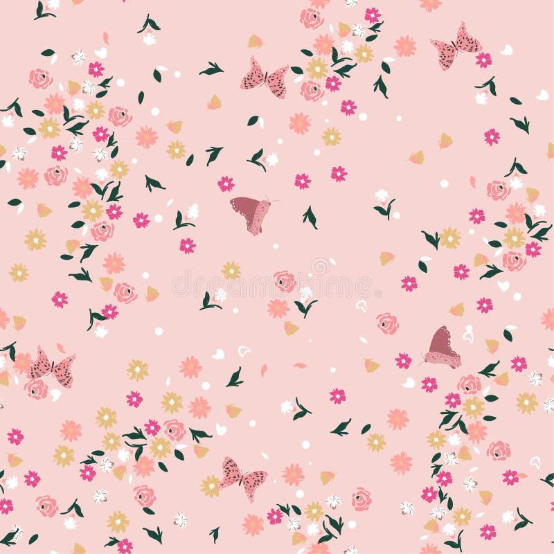 Цветочный узор пастельной свободы безшовный Предпосылка в малом colo бесплатная иллюстрация