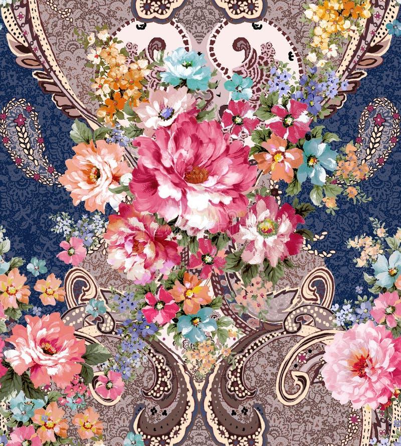 Цветочный узор Пейсли в русском стиле Медальон с красными маком и светом - голубыми цветками Дизайн зимы иллюстрация штока