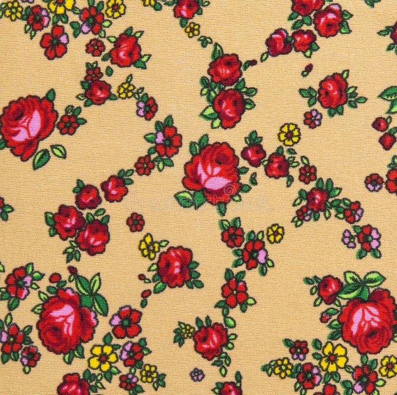 Цветочный узор, предпосылка цветка роз на ткани стоковое изображение rf