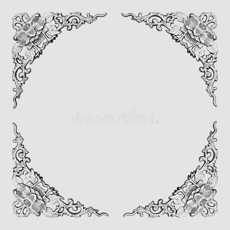 Цветочный узор рамк-серый Стоковые Изображения