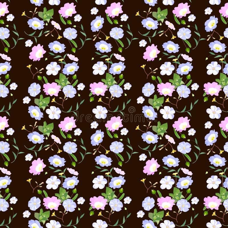 Цветочный узор растра безшовный, пинк и голубые цветки в пастельных цветах иллюстрация штока