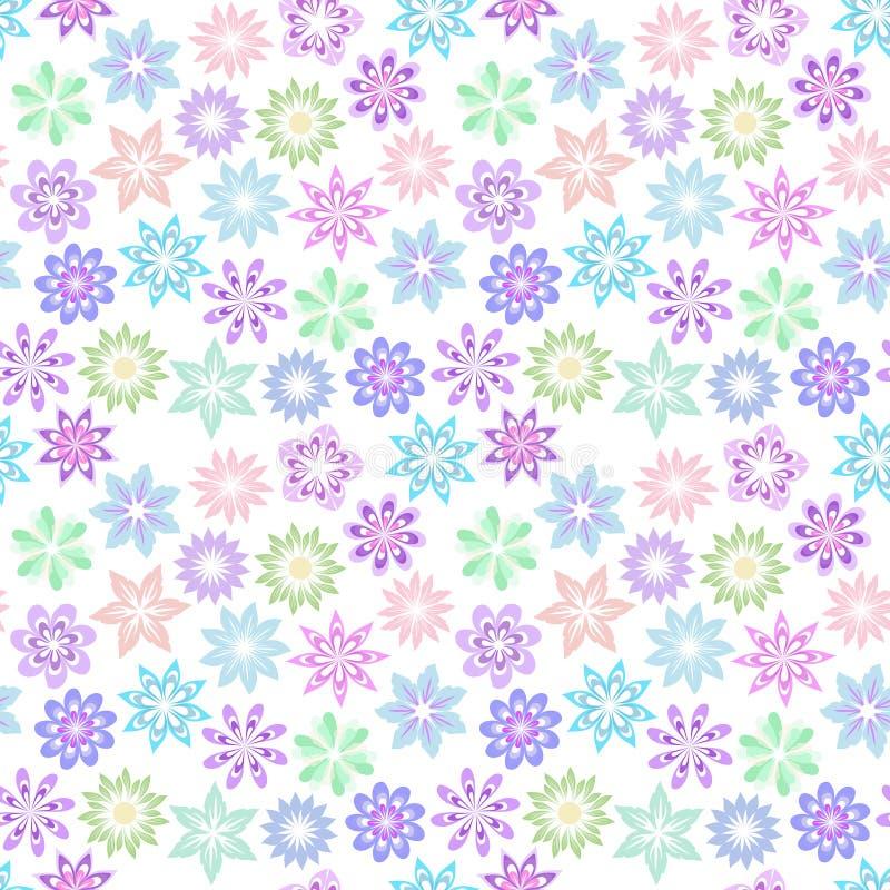 Цветочный узор растра в нежных пастельных цветах на белой предпосылке Установите пестротканых декоративных цветков иллюстрация вектора