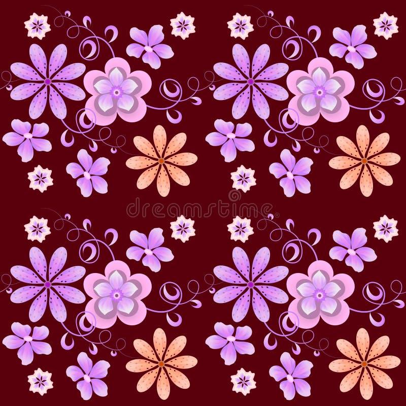 Цветочный узор растра светлых цветов на темной предпосылке иллюстрация штока