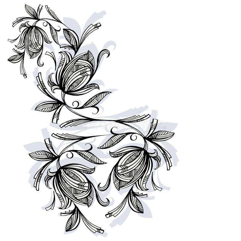 Цветочный узор, роза черно-белая бесплатная иллюстрация