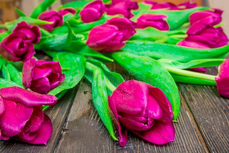 Цветочный узор сделанный розового тюльпана, зеленых листьев, ветвей на черной предпосылке стоковые изображения