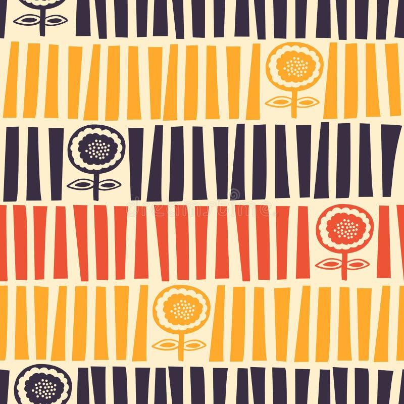 Цветочный узор середины века современный проиллюстрированный бесплатная иллюстрация