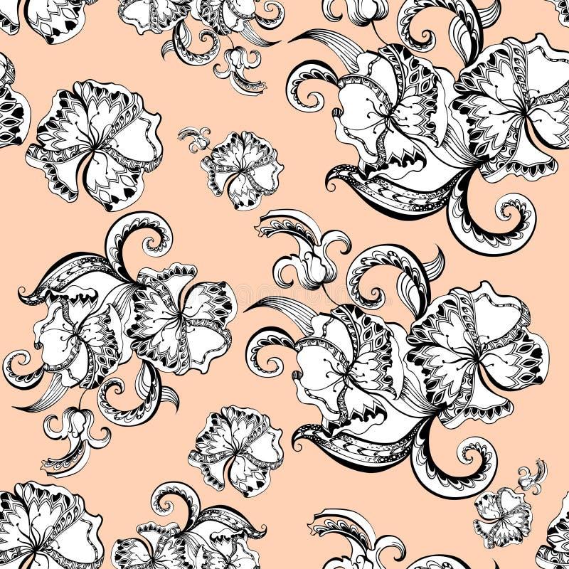 Цветочный узор схематичных doodles декоративный бесплатная иллюстрация