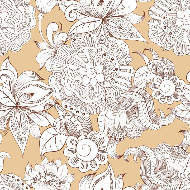 Цветочный узор схематичных doodles декоративный иллюстрация штока