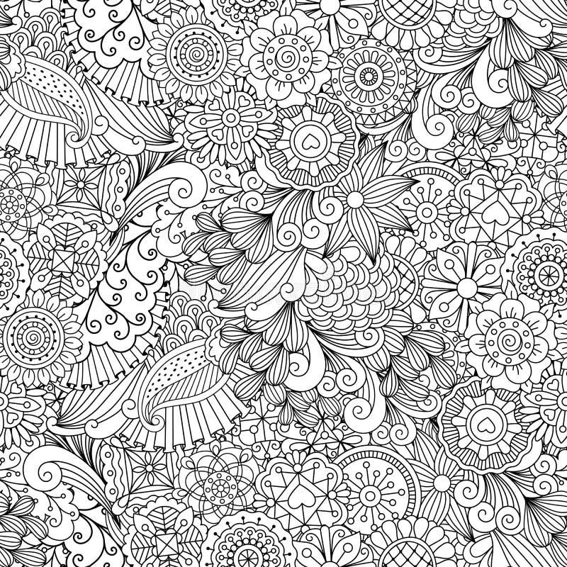 Цветочный узор схематичных doodles декоративный иллюстрация вектора