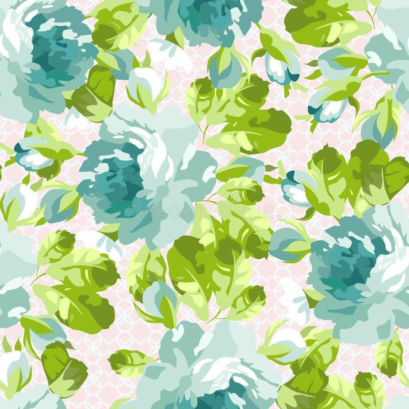Цветочный узор с голубыми розами бесплатная иллюстрация
