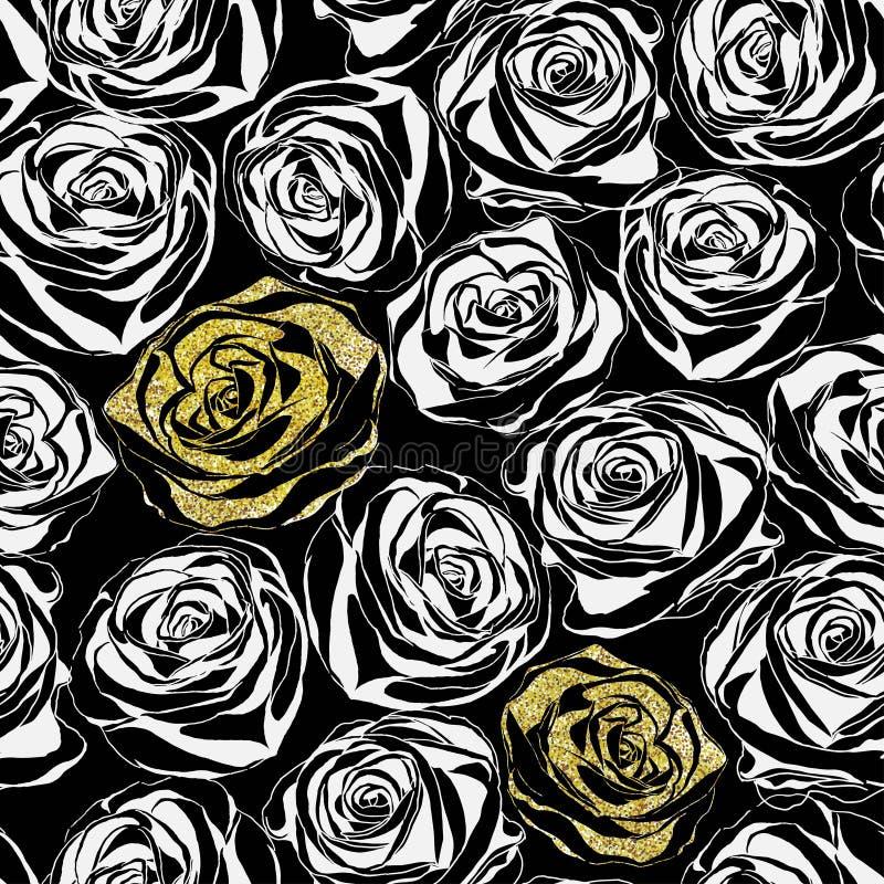 Цветочный узор с изображением цветков яркого блеска розовых на черной предпосылке иллюстрация штока