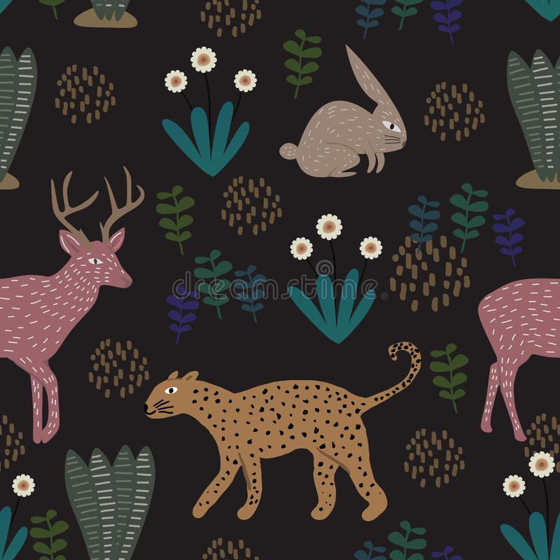 Цветочный узор с леопардом, кроликом, и оленями Безшовный милый ребяческий чертеж Дети и дети вручают вычерченному стилю красочны иллюстрация вектора