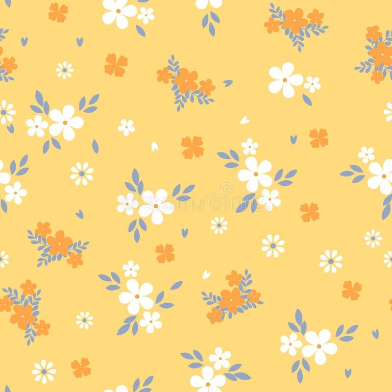 Цветочный узор с небольшим белым цветком стиль свободы Предпосылка элегантного цветка безшовная для печатей моды ditsy иллюстрация штока