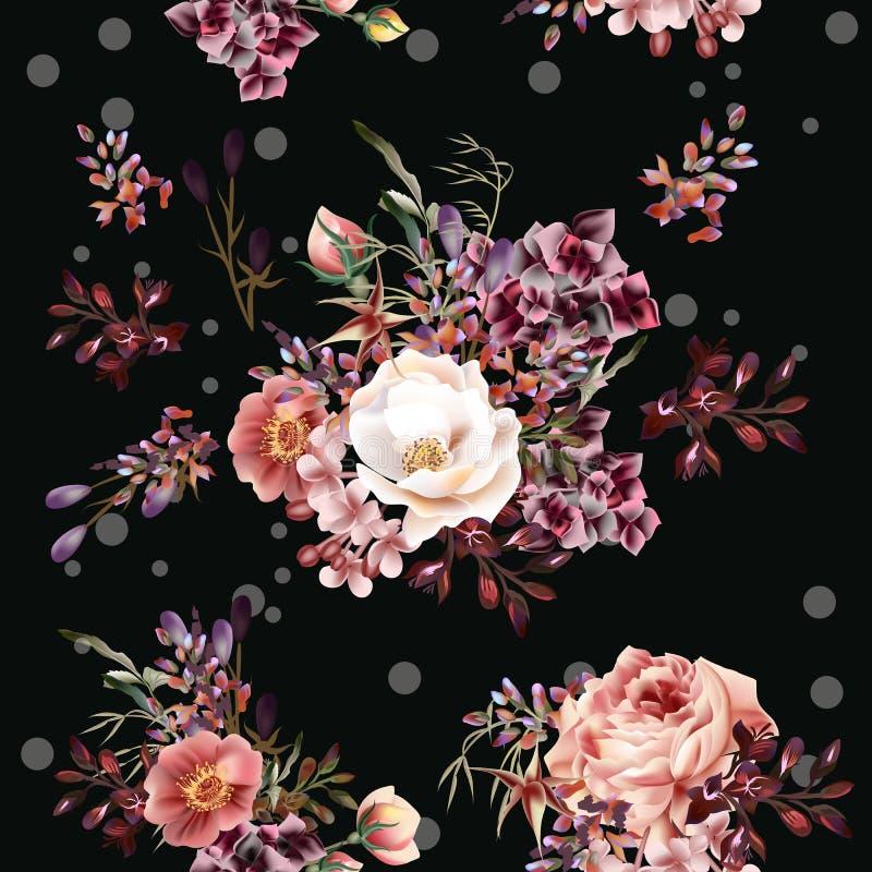 Download Цветочный узор с розами и полем цветет в стиле акварели Иллюстрация вектора - иллюстрации насчитывающей антиквариаты, симпатично: 81802307