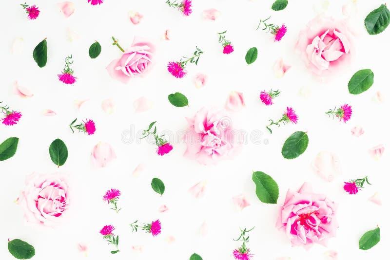 Цветочный узор с розовыми розами, лепестками и листьями на белой предпосылке Плоское положение, взгляд сверху Предпосылка дня Вал стоковое изображение