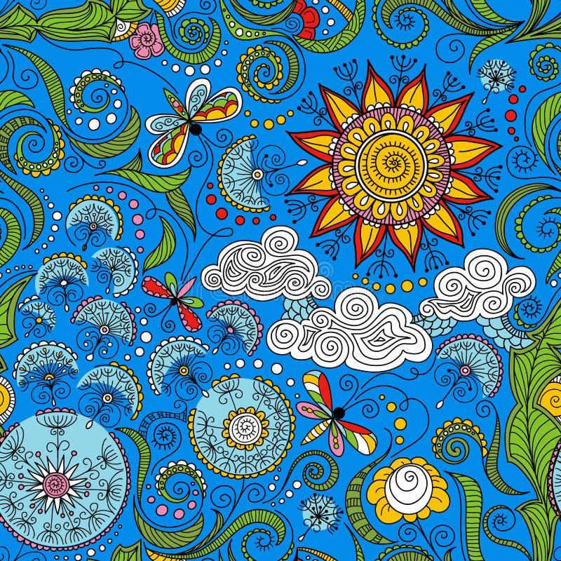 Цветочный узор цвета вектора безшовный иллюстрация штока