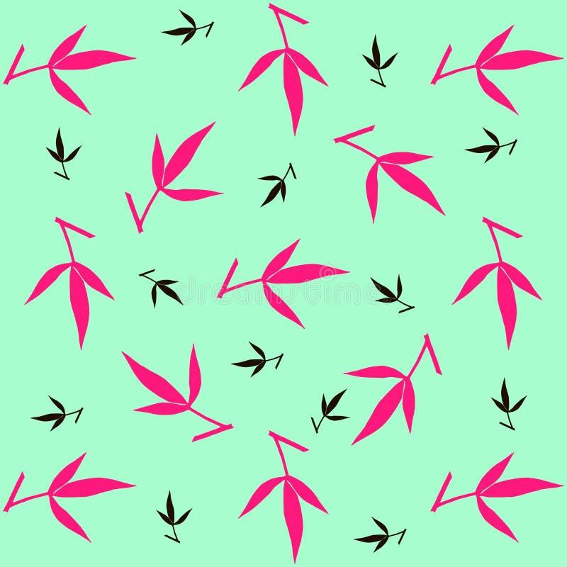 Цветочный узор черного и розового покрашенного пиона выходит на предпосылку мяты бесплатная иллюстрация