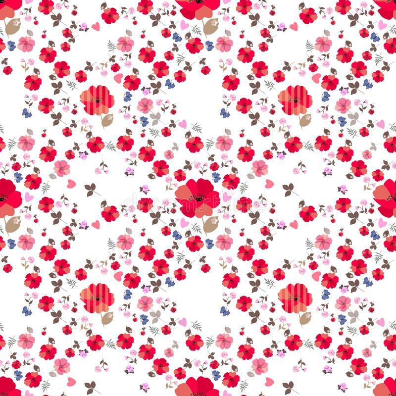 Цветочный узор Ditsy безшовный с меньшими голубыми бабочками мультфильма и розовыми сердцами на белой предпосылке Печать для ткан иллюстрация штока