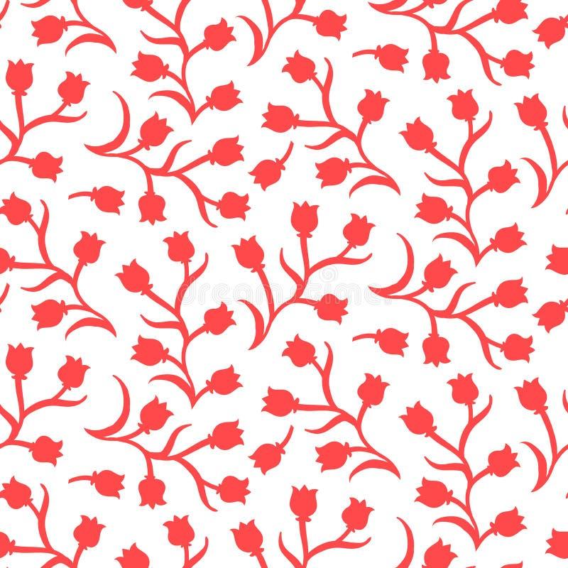 Цветочный узор Ditsy с малыми красными тюльпанами иллюстрация штока