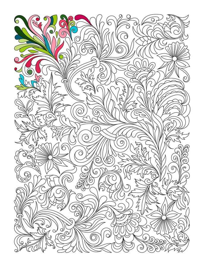 Цветочный узор Doodle в черно-белом Страница для книжка-раскраски: очень интересная и расслабляющая работа для детей и иллюстрация штока
