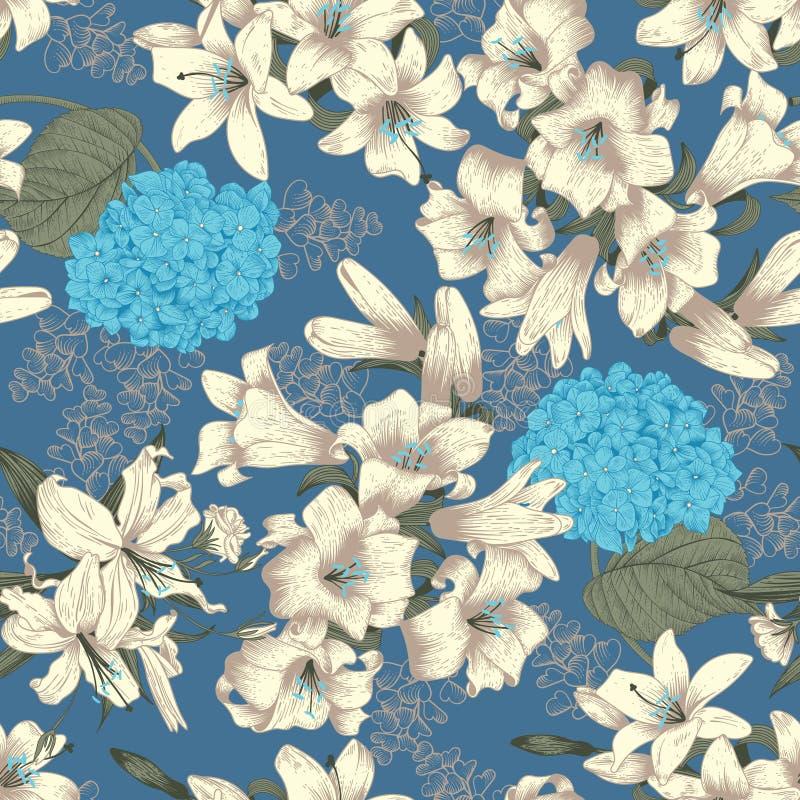 Цветы лилии белые вектор предпосылки безшовный Картина год сбора винограда флористическая ботаническую иллюстрация вектора