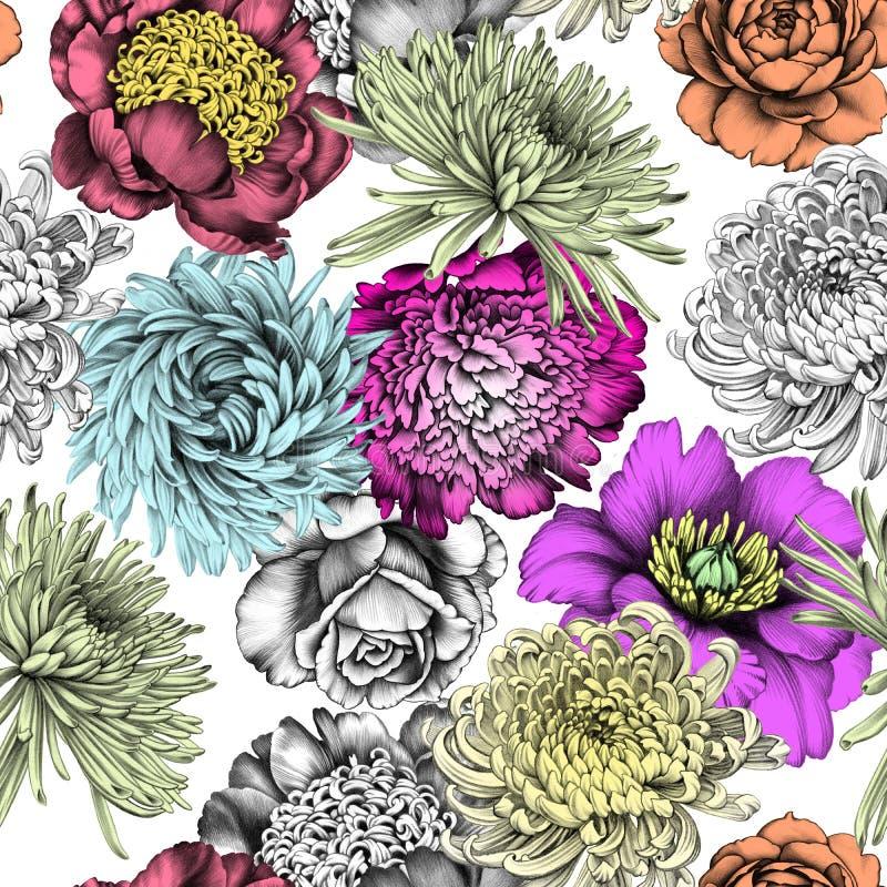Цветы картина безшовная белизна вала карандаша чертежа предпосылки бесплатная иллюстрация