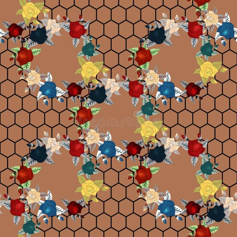 Цветы Мак, одичалые розы, cornflower с листьями на темноте Безшовная картина предпосылки вычерченная рука акварель вектор бесплатная иллюстрация