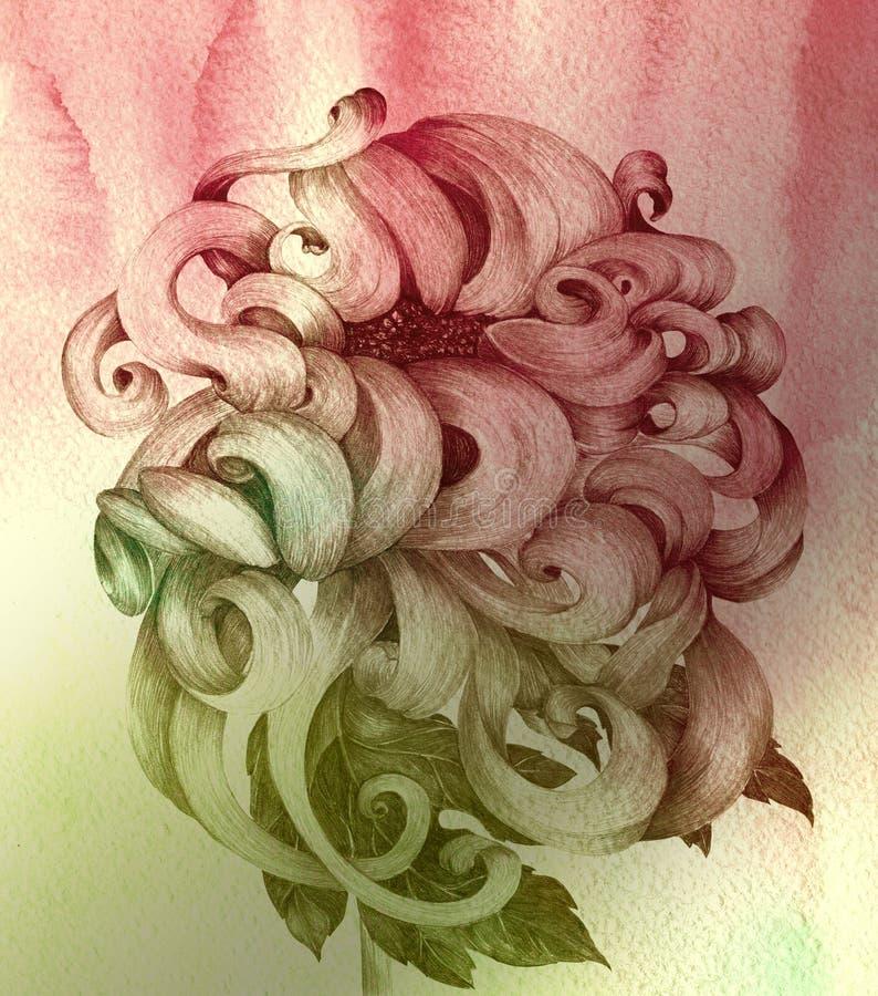 Цветы хризантемы Декоративный состав на предпосылке акварели иллюстрация вектора