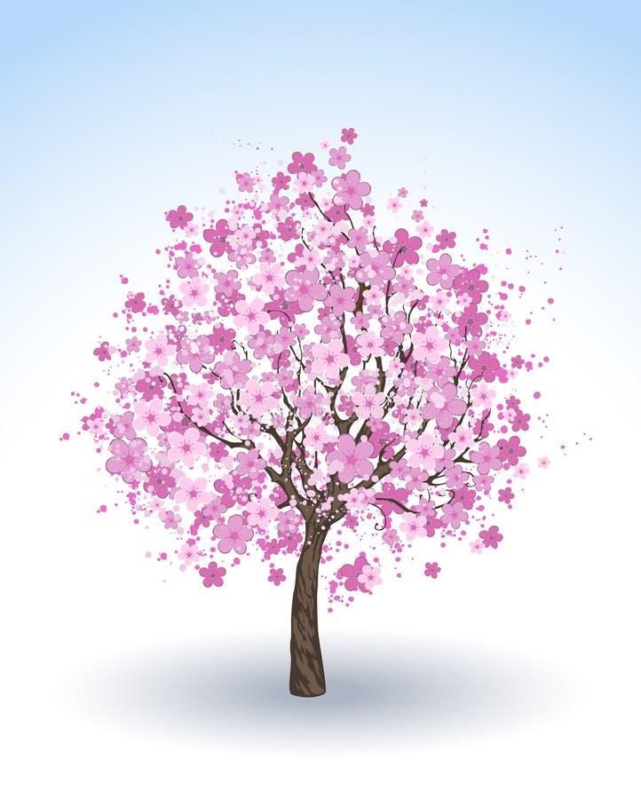Цветя вишневое дерево иллюстрация вектора