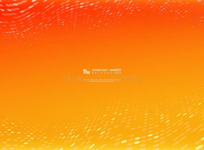 Цвет абстрактного вектора градиента оранжевый и желтый с украшением точки технологии круга вектор eps10 illustratin иллюстрация вектора