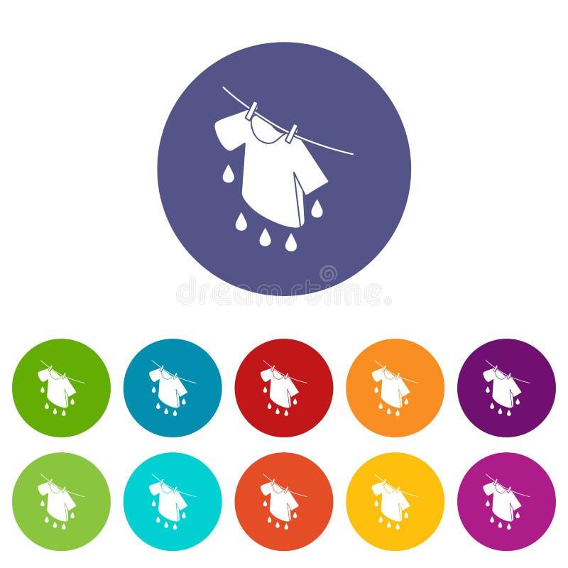 Цвет вектора засыхания рубашки установленный значками иллюстрация вектора