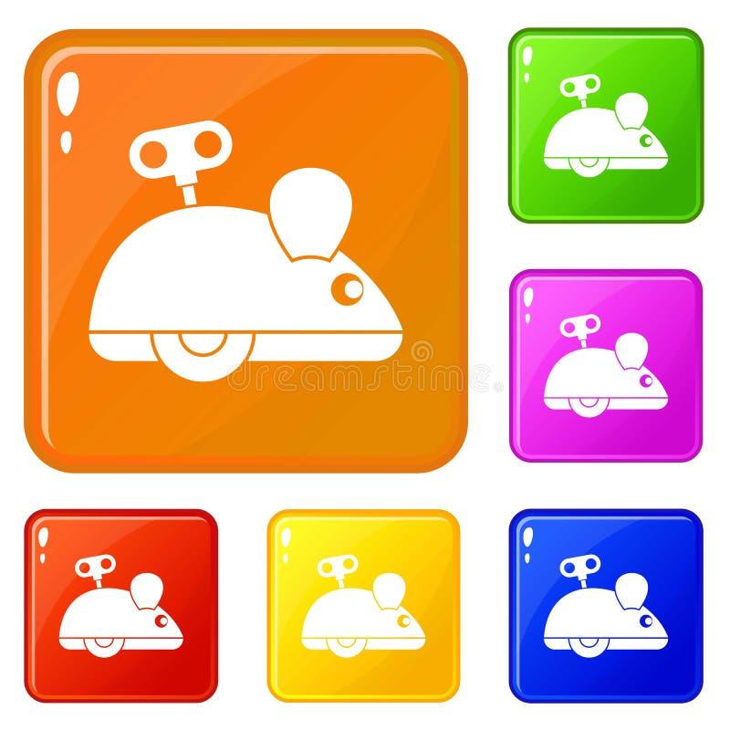 Цвет вектора значков мыши Clockwork установленный иллюстрация вектора