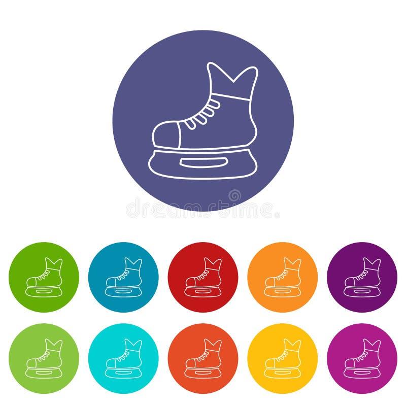 Цвет вектора конька хоккея на льде установленный значками иллюстрация вектора