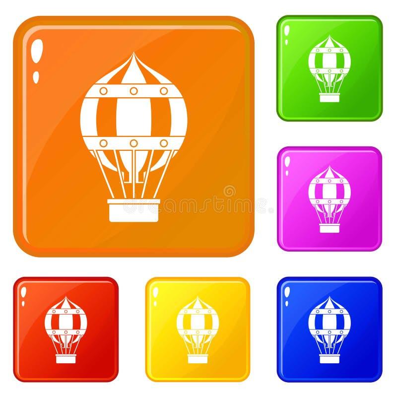 Цвет вектора старомодных значков воздушного шара гелия установленный бесплатная иллюстрация